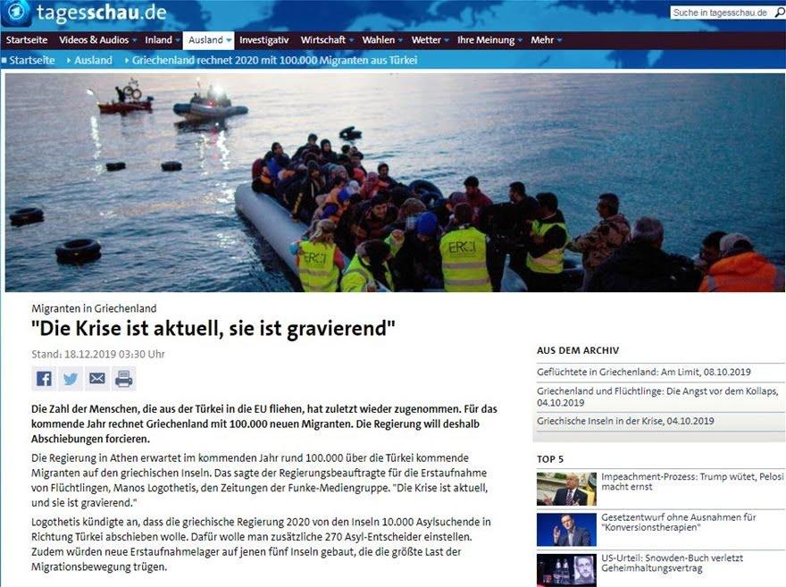 Μάνος Λογοθέτης: Η Ελλάδα περιμένει επιπλέον 100.000 μετανάστες το 2020
