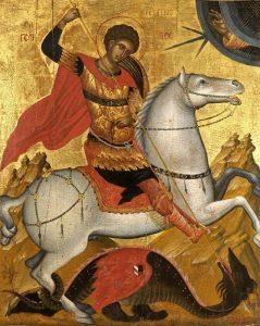 Άγιος Γεώργιος. Από τους δημοφιλέστερους Αγίους σε όλο τον χριστιανικό κόσμο. Ονομάζεται, επίσης, Μεγαλομάρτυς και Τροπαιοφόρος.