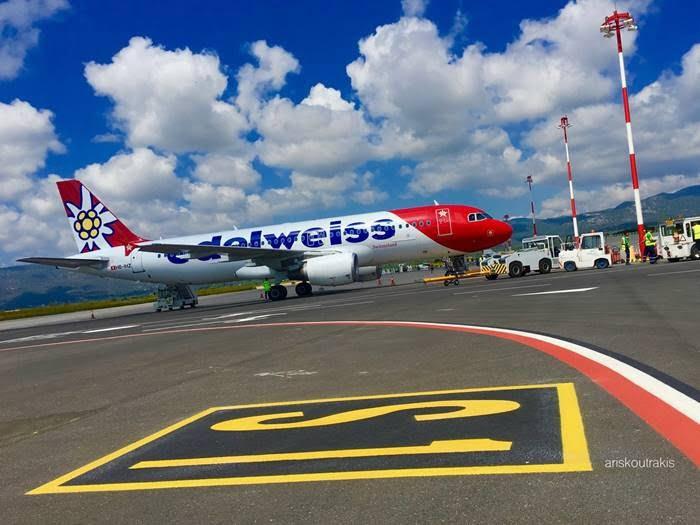 Ποδαρικό την Τετάρτη (01/07) από την Edelweiss με 135 περίπου Ελβετούς τουρίστες στο αεροδρόμιο «Αρίσταρχος ο Σάμιος»