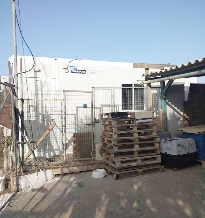 Tοποθέτηση ενός προκατασκευασμένου οικίσκου πολλαπλών χρήσεων στο προσωρινό καταφύγιο των αδέσποτων ζώων
